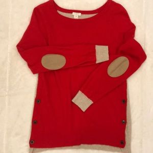 J.Crew Red and tan sweater with elbow patches